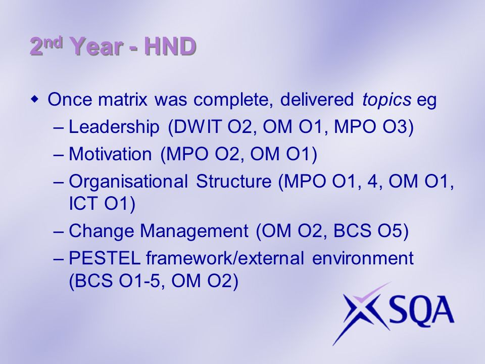 2nd Year - HND Once matrix was complete, delivered topics eg