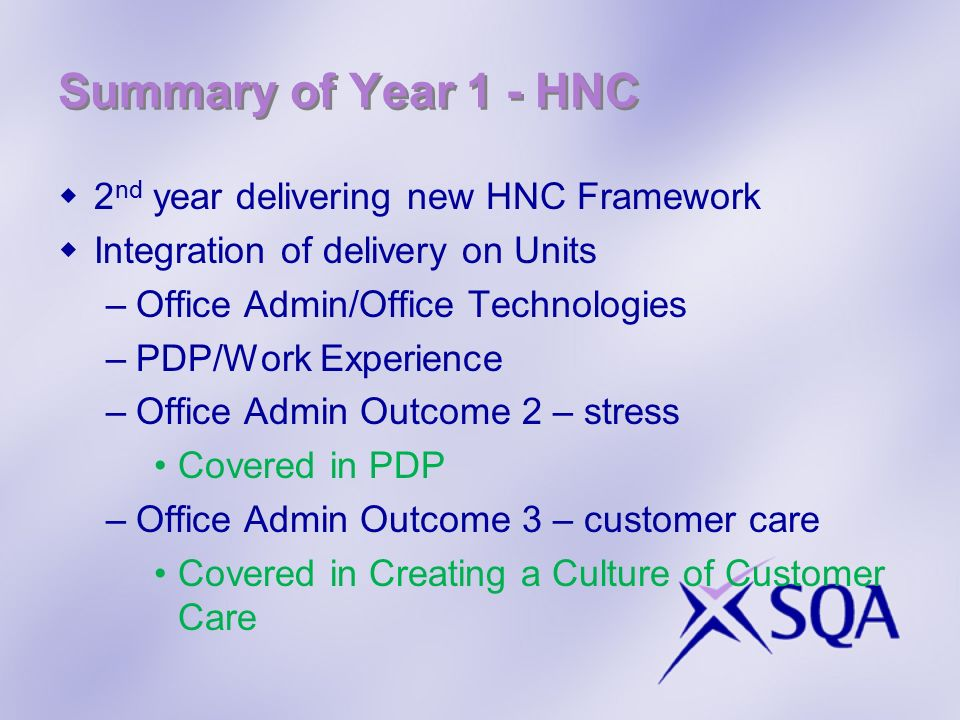 Summary of Year 1 - HNC 2nd year delivering new HNC Framework