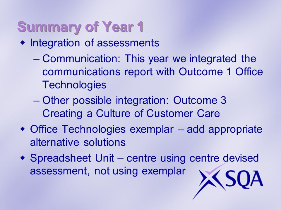 Summary of Year 1 Integration of assessments