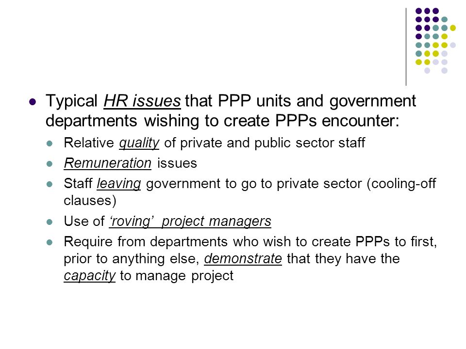 Typical HR issues that PPP units and government departments wishing to create PPPs encounter: