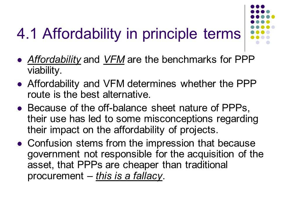 4.1 Affordability in principle terms