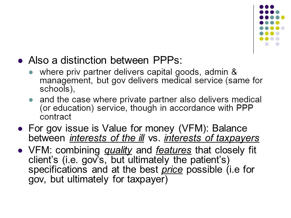 Also a distinction between PPPs: