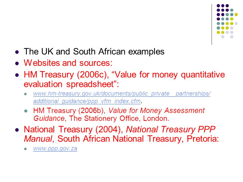 The UK and South African examples Websites and sources: