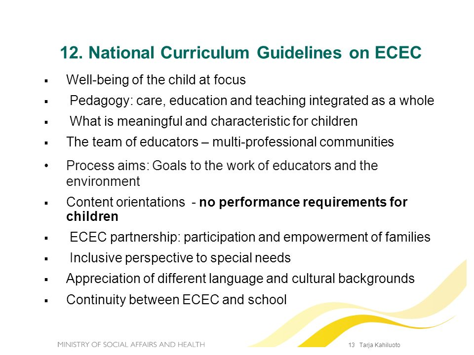12. National Curriculum Guidelines on ECEC
