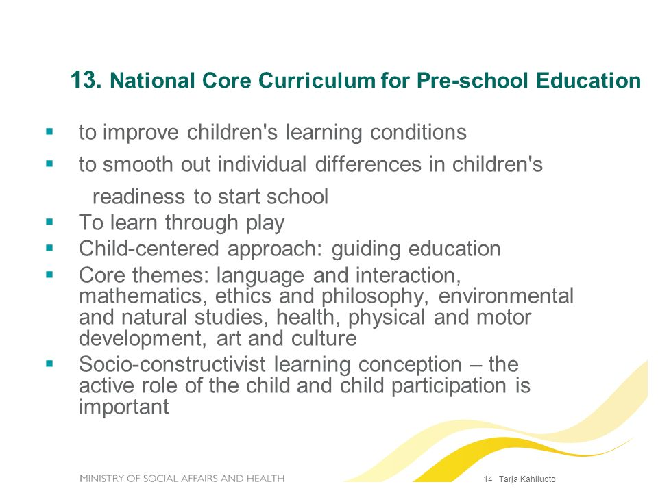 13. National Core Curriculum for Pre-school Education