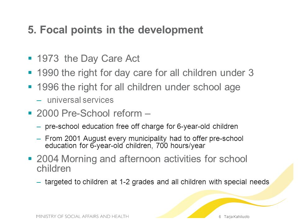 5. Focal points in the development