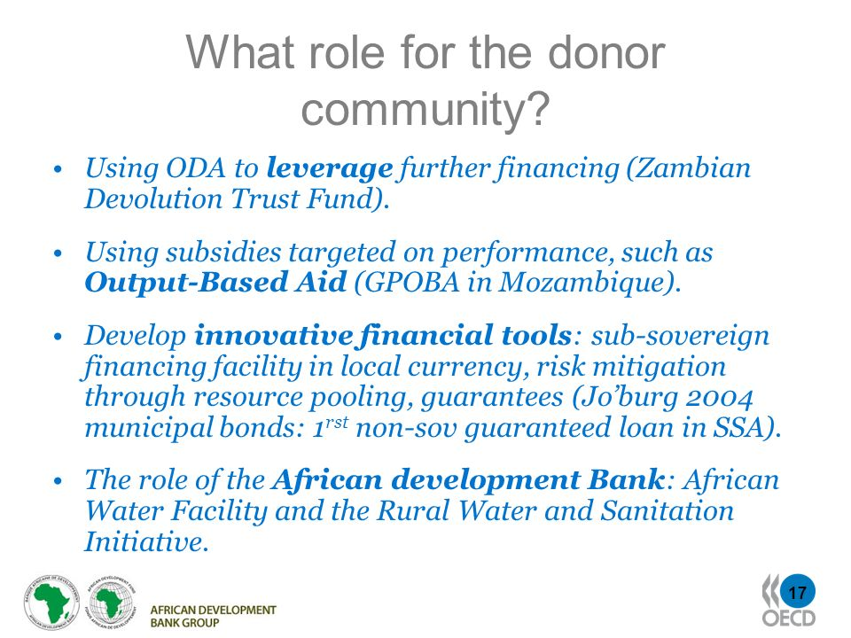 What role for the donor community