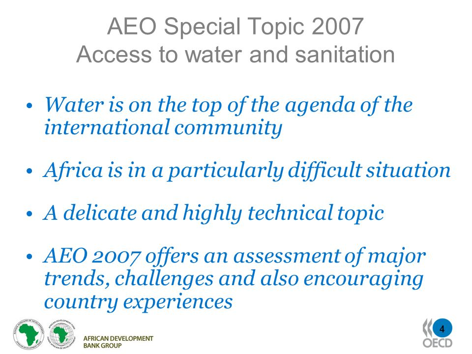 AEO Special Topic 2007 Access to water and sanitation