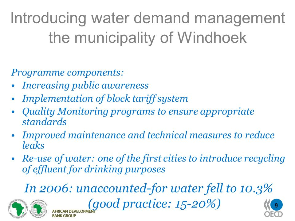 Introducing water demand management the municipality of Windhoek