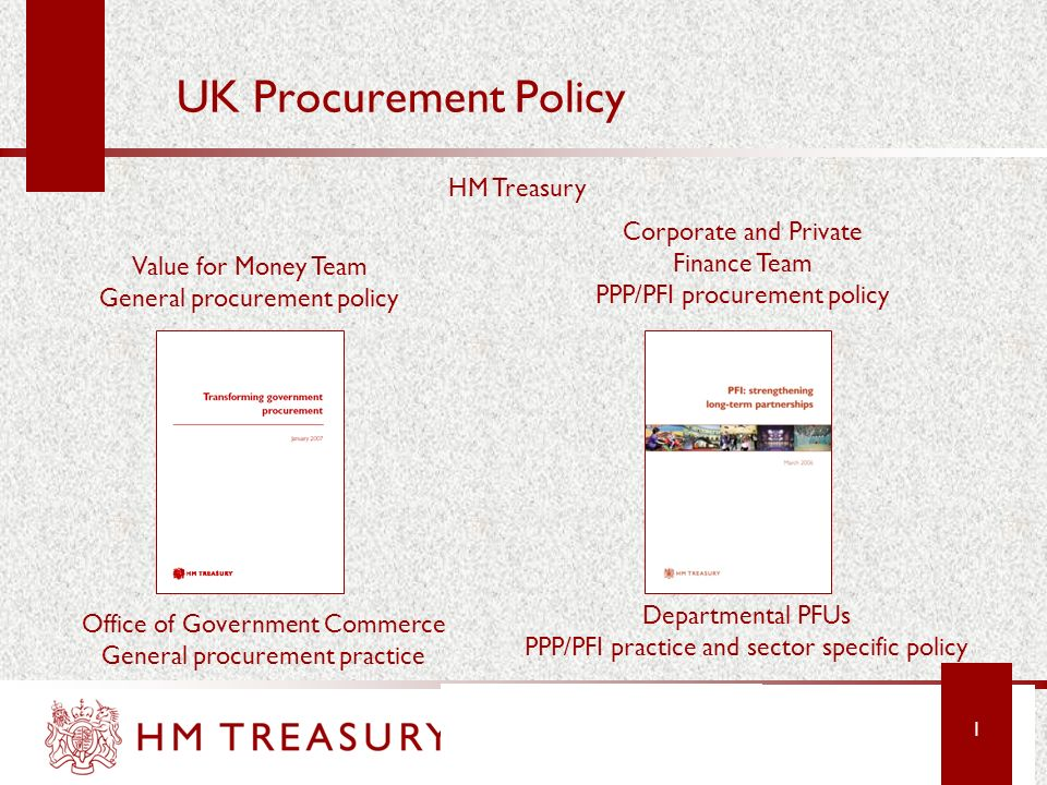 UK Procurement Policy HM Treasury Corporate and Private Finance Team