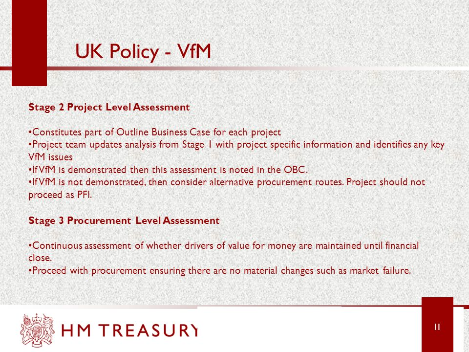 UK Policy - VfM Stage 2 Project Level Assessment