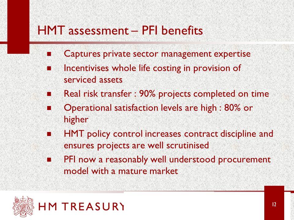 HMT assessment – PFI benefits