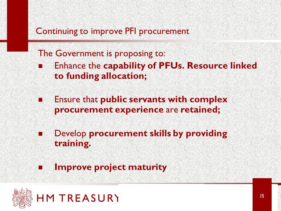Continuing to improve PFI procurement