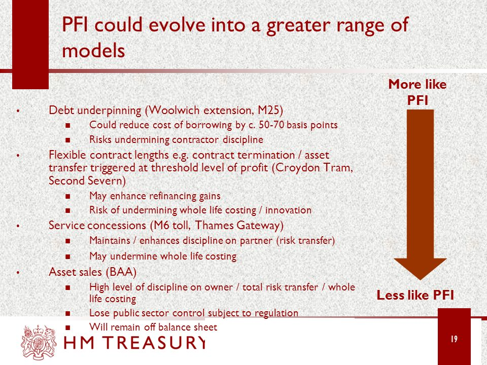 PFI could evolve into a greater range of models