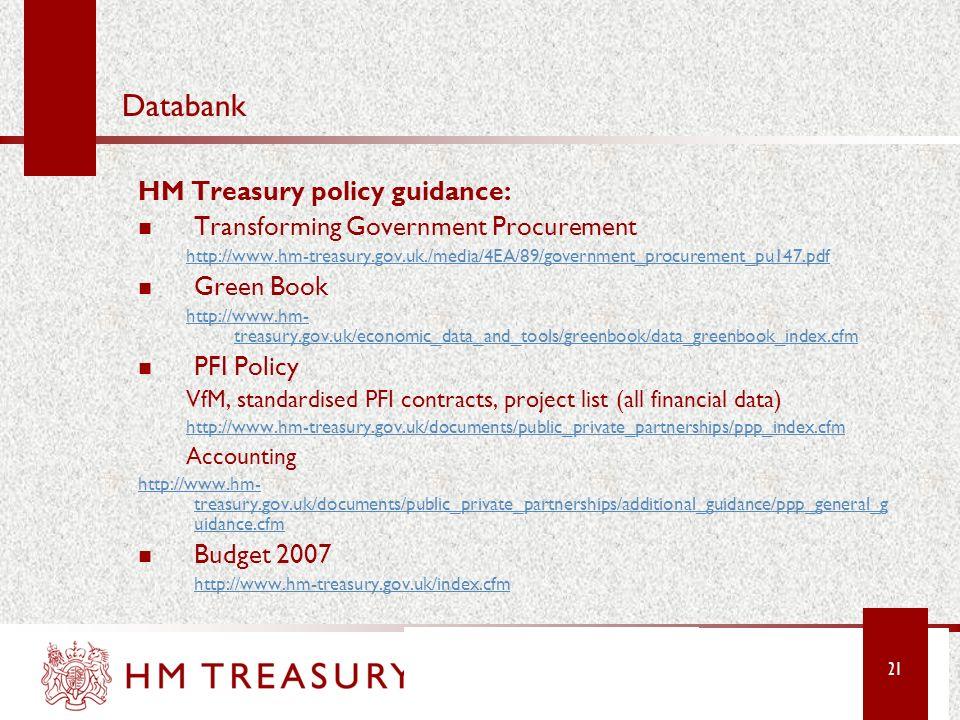 Databank HM Treasury policy guidance: