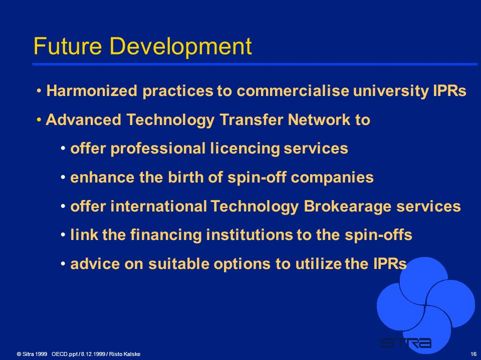 Future Development Harmonized practices to commercialise university IPRs. Advanced Technology Transfer Network to.