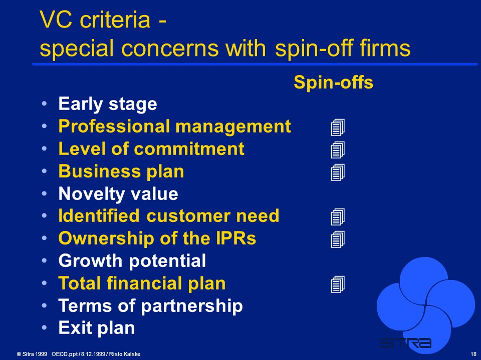VC criteria - special concerns with spin-off firms
