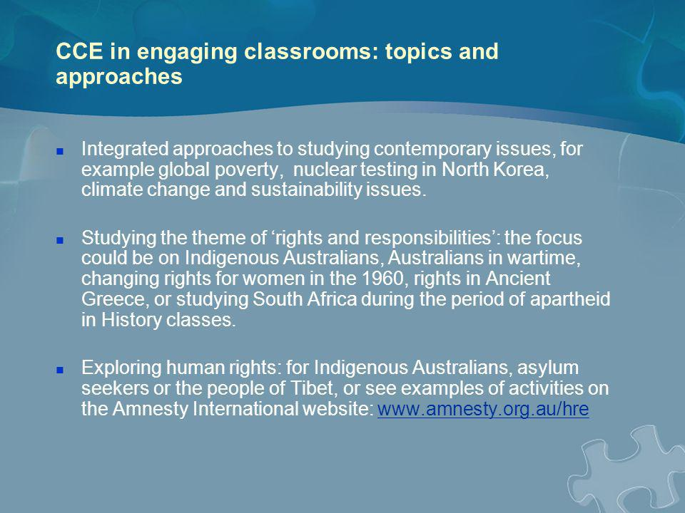 CCE in engaging classrooms: topics and approaches