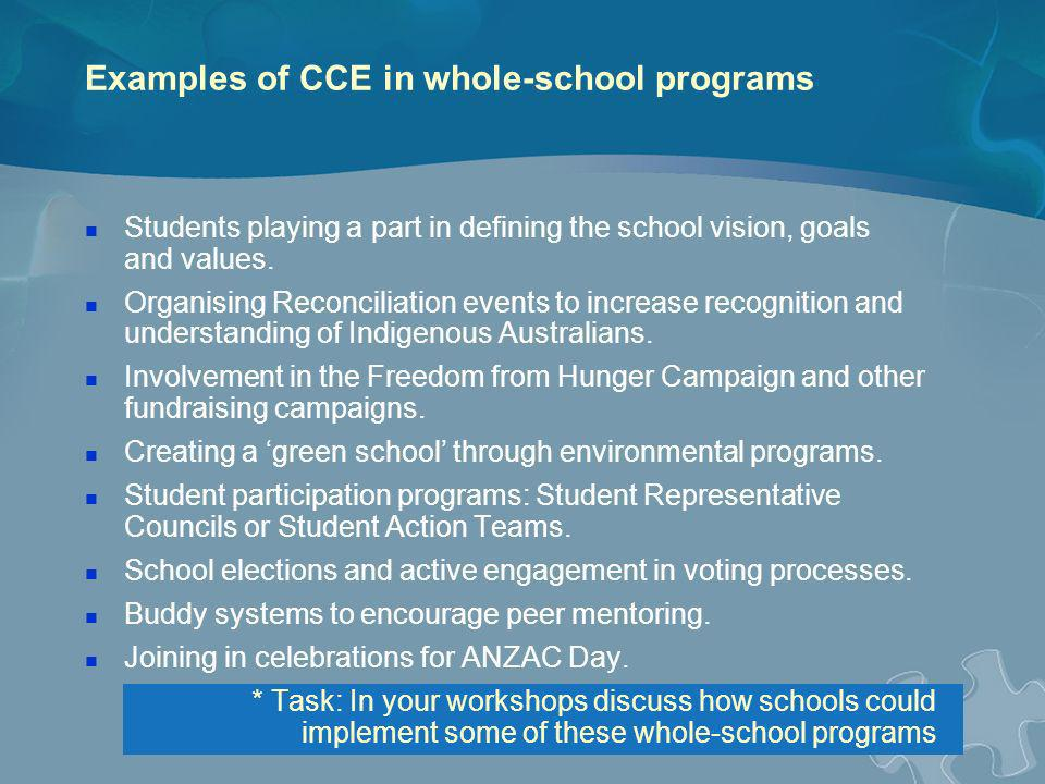 Examples of CCE in whole-school programs