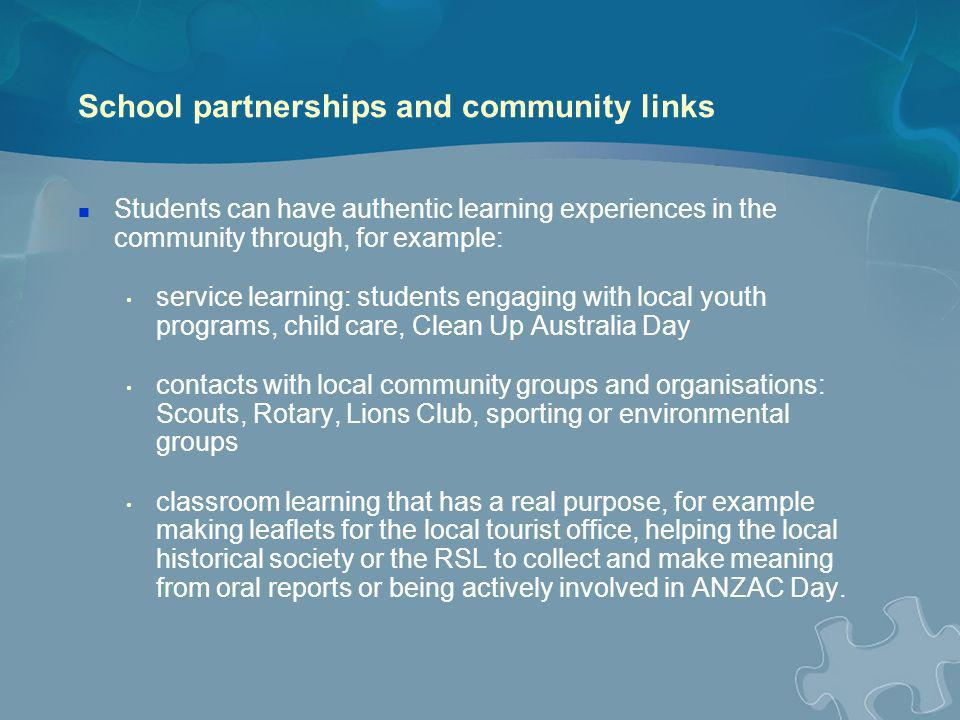 School partnerships and community links