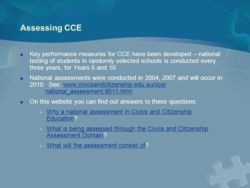 Assessing CCE