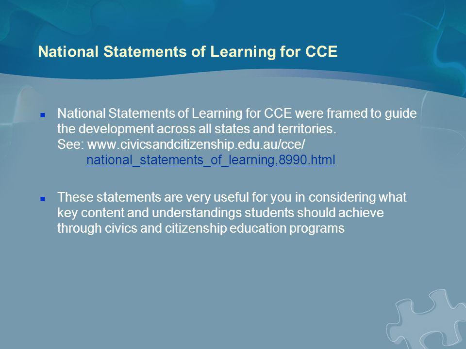 National Statements of Learning for CCE