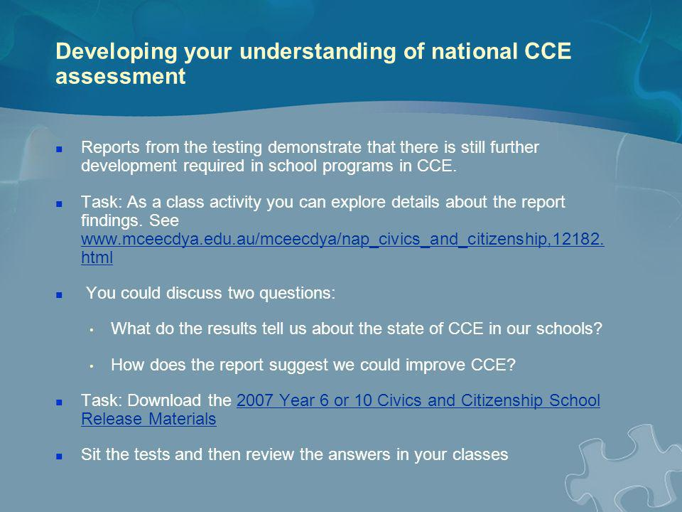 Developing your understanding of national CCE assessment
