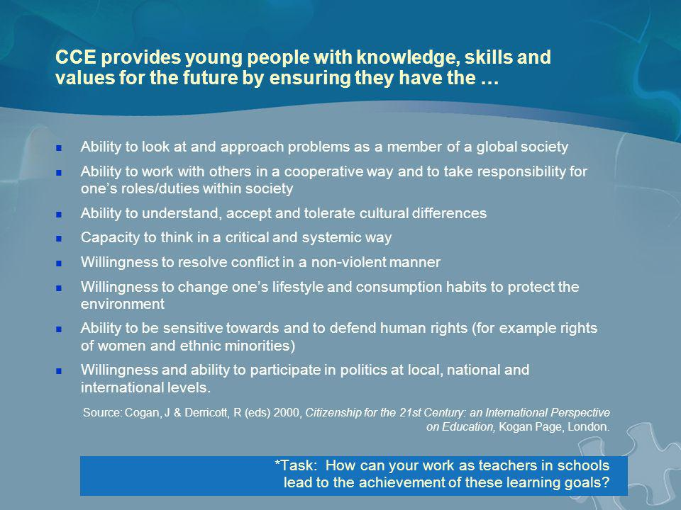 CCE provides young people with knowledge, skills and values for the future by ensuring they have the …