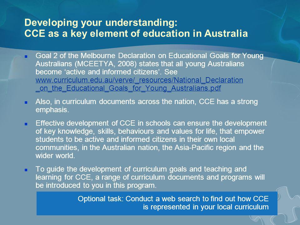 Developing your understanding: CCE as a key element of education in Australia