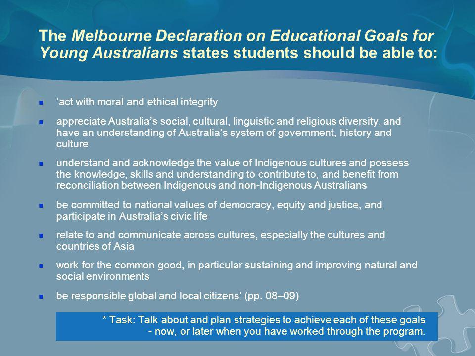 The Melbourne Declaration on Educational Goals for Young Australians states students should be able to: