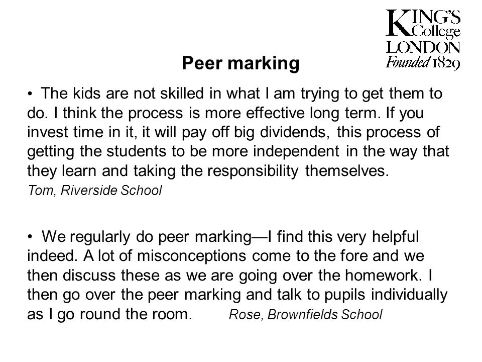 Peer marking