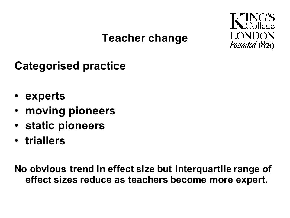 Teacher change Categorised practice experts moving pioneers