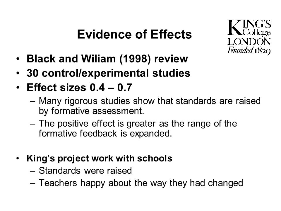 Evidence of Effects Black and Wiliam (1998) review