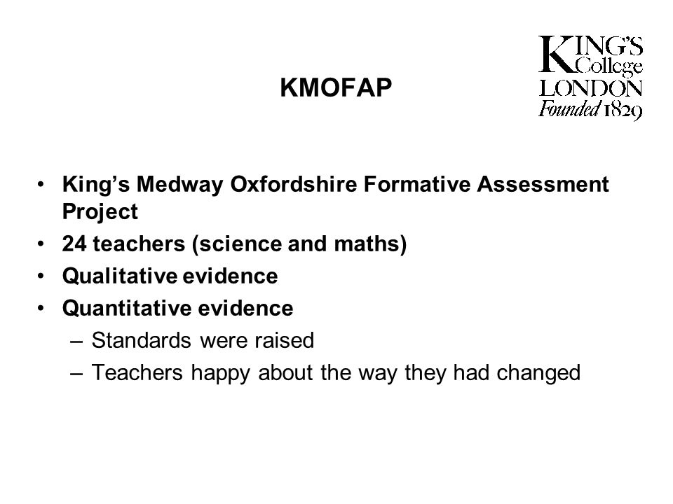 KMOFAP King's Medway Oxfordshire Formative Assessment Project