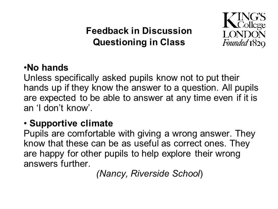 Feedback in Discussion Questioning in Class
