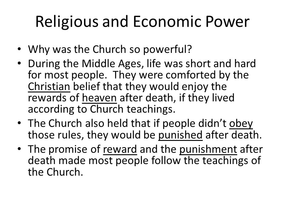 Religious and Economic Power