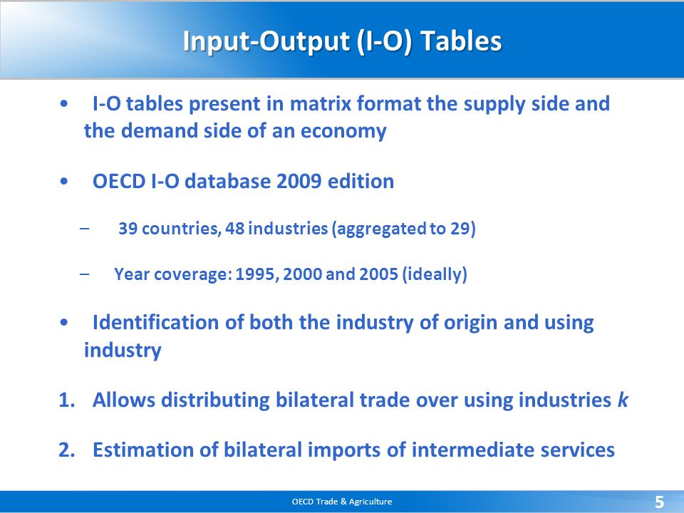 Input-Output (I-O) Tables