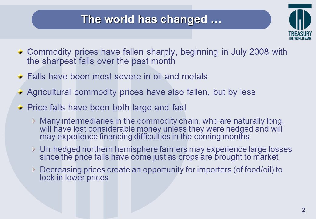 The world has changed … Commodity prices have fallen sharply, beginning in July 2008 with the sharpest falls over the past month.
