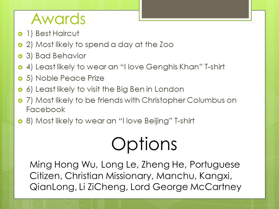 most likely awards  Chinese Culture