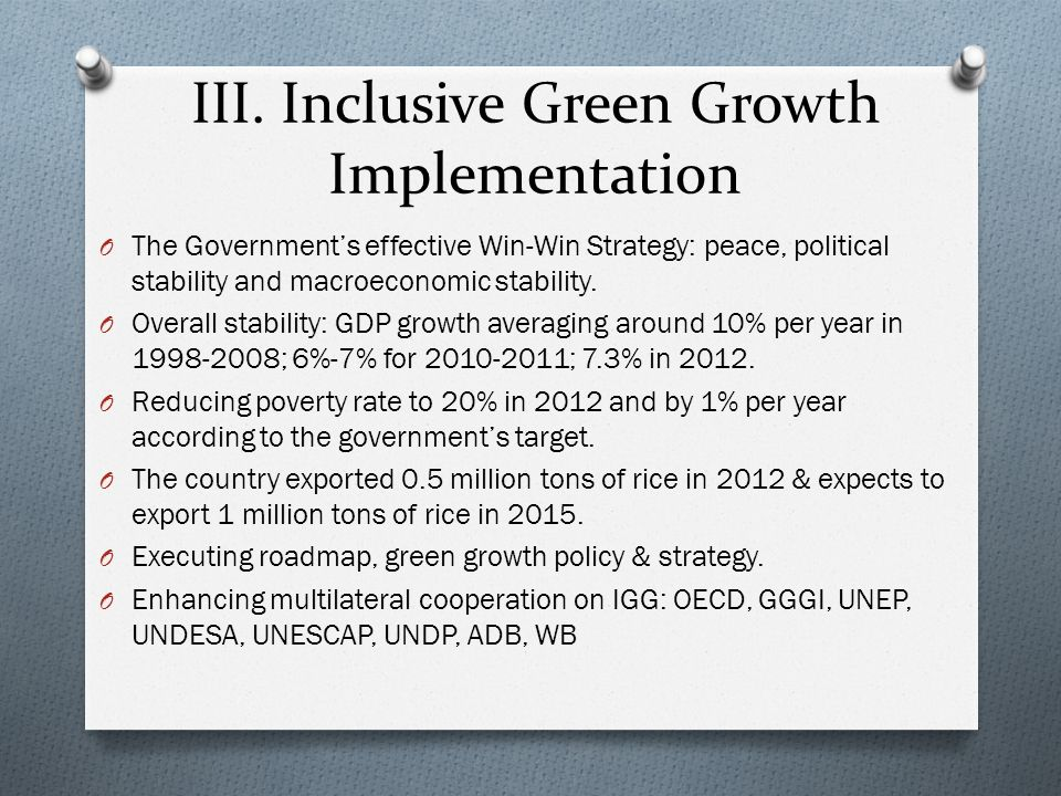 III. Inclusive Green Growth Implementation