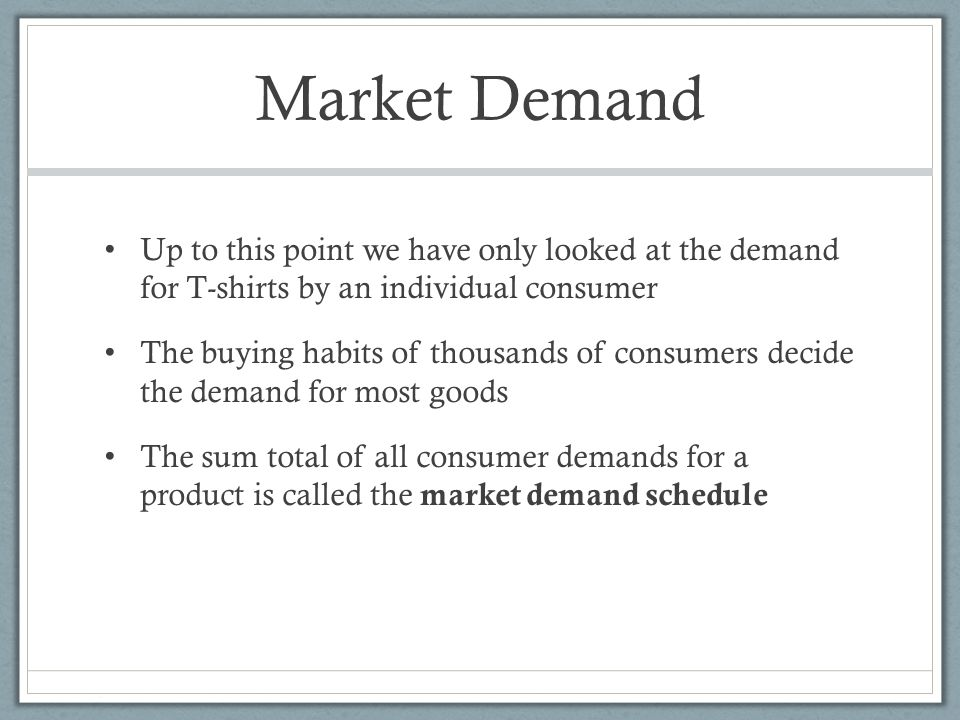 understanding the economics of market demand Understand the difference between demand and quantity demanded know the  four  like income, the impact of market price fluctuations on our demand curve .