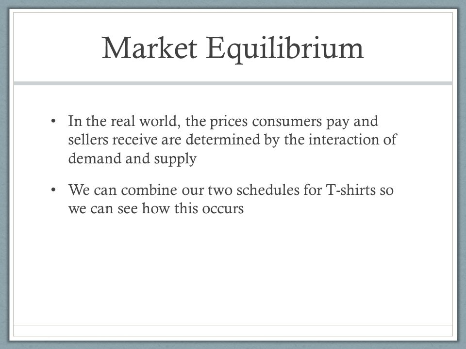 market equilibrium real world example Understand how supply and demand determine the prices of goods and services via market equilibrium with this illustrated guide that includes graphs understand how supply and demand determine the prices of goods and services via market equilibrium with this illustrated guide that includes graphs illustrated guide to the supply and demand equilibrium.