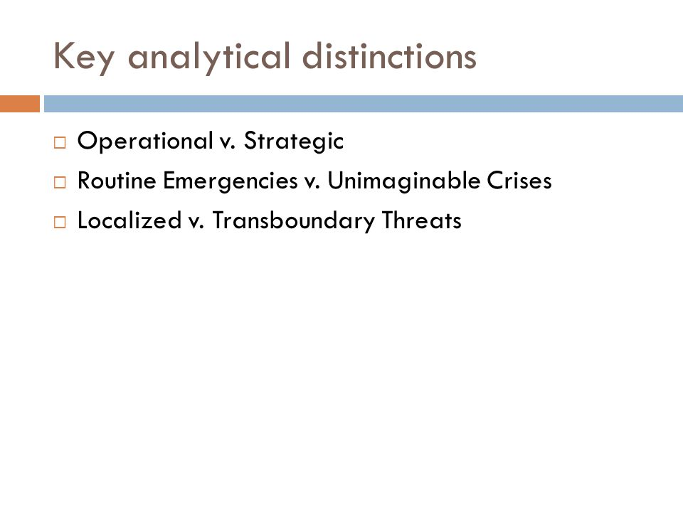 Key analytical distinctions