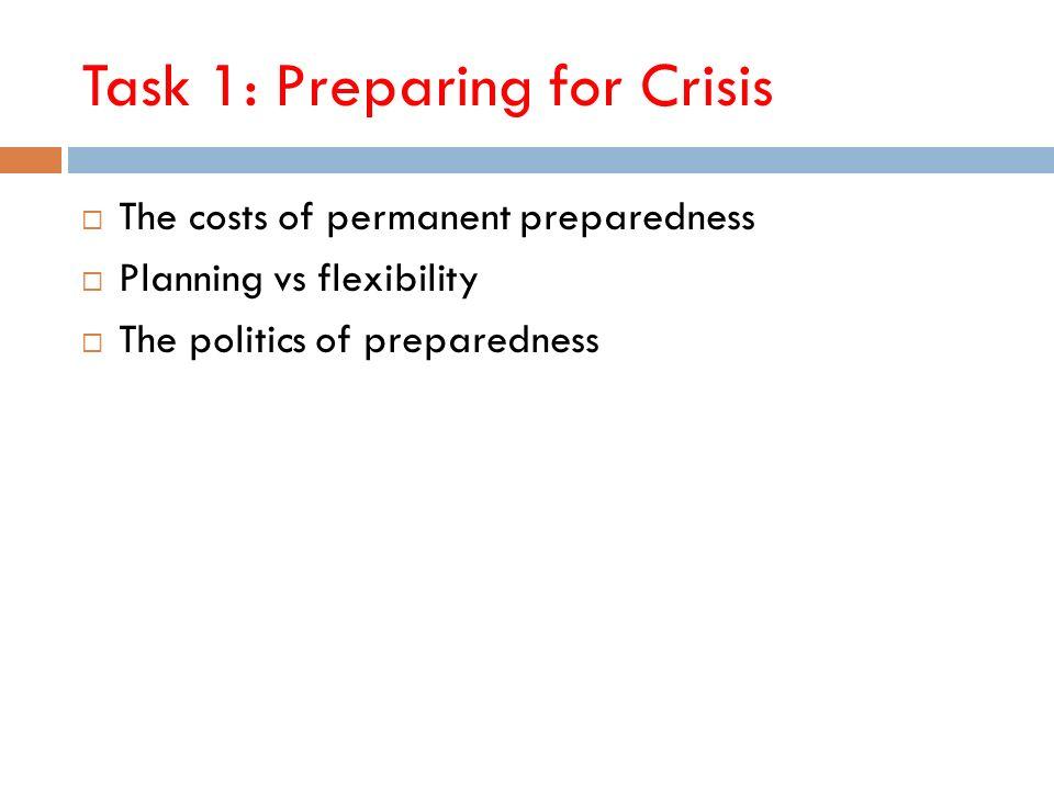 Task 1: Preparing for Crisis