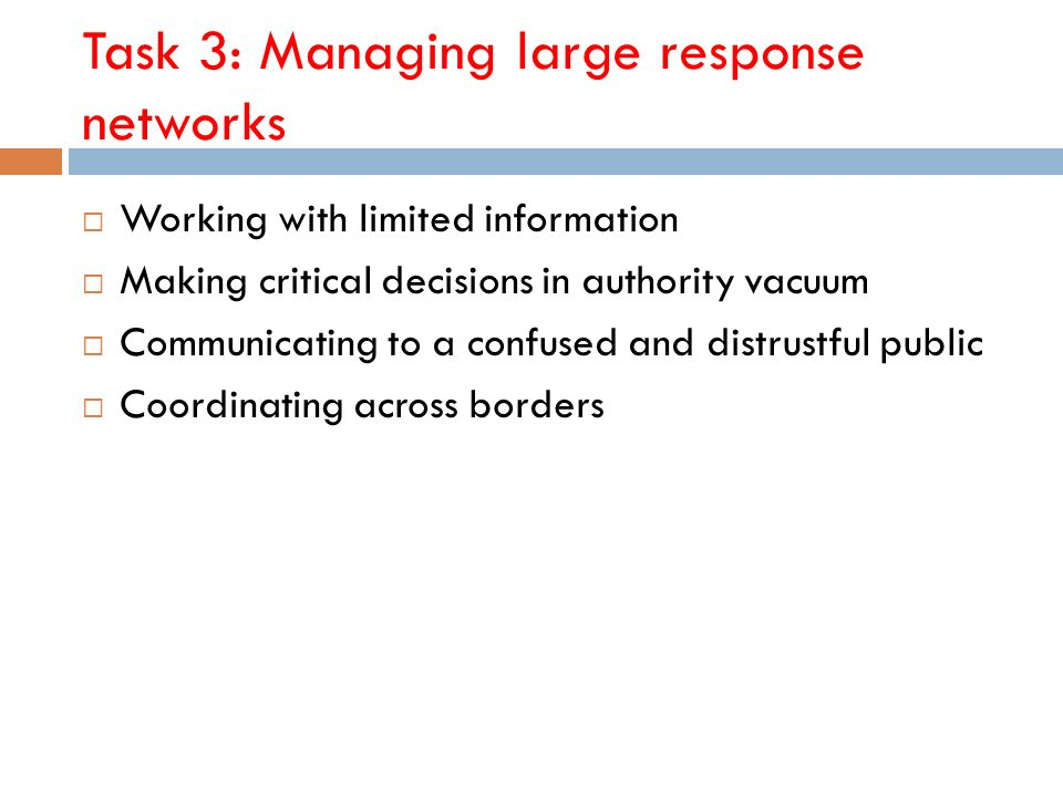 Task 3: Managing large response networks