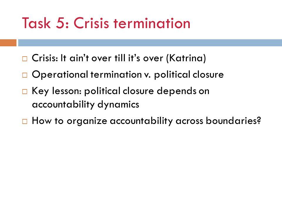 Task 5: Crisis termination
