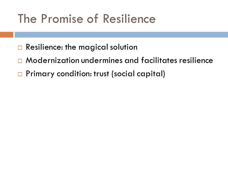 The Promise of Resilience