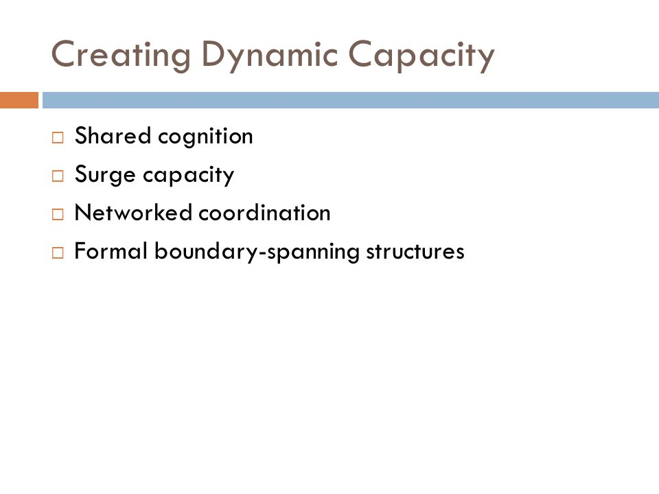 Creating Dynamic Capacity