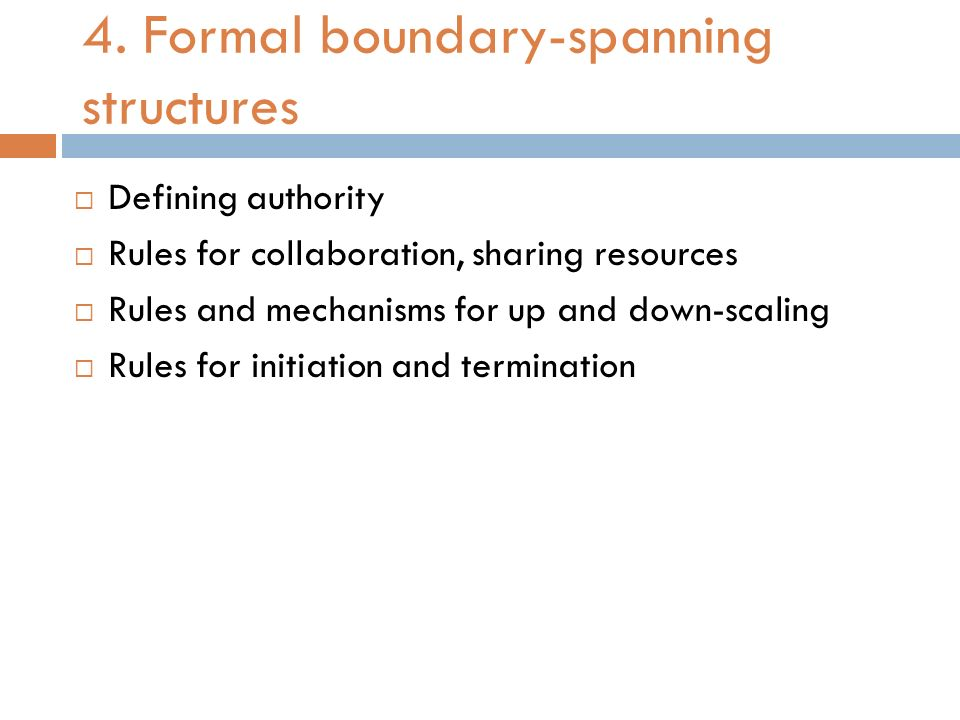 4. Formal boundary-spanning structures
