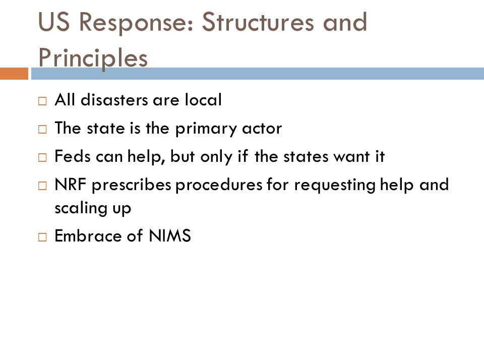 US Response: Structures and Principles